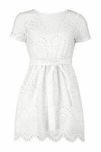 Womens Petite Broderie Anglaise Skater Dress - white - 6, White