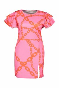 Womens Plus Chain Print Angel Sleeve Bodycon Dress - Pink - 20, Pink