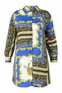 Womens Plus Chain Print Oversized Shirt Dress - blue - 20, Blue