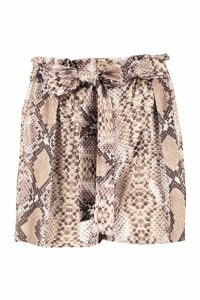 Womens Petite Snake Print Belted Shorts - beige - 14, Beige
