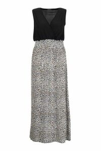 Womens Plus Leopard Plunge Slinky Maxi Dress - black - 16, Black