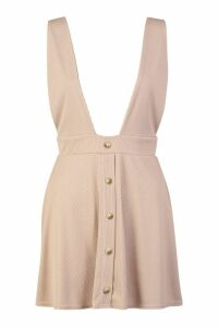 Womens Petite Ribbed Button Through Pinafore Dress - beige - 10, Beige