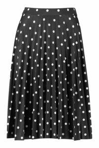 Womens Petite Slinky Polka Dot Midi Skirt - black - 12, Black