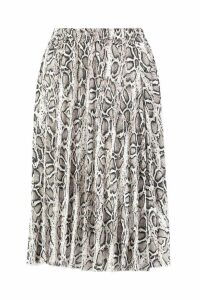 Womens Petite Snake Print Pleated Midi Skirt - beige - 4, Beige