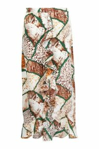 Womens Plus Woven Mixed Animal Ruffle Maxi Skirt - brown - 20, Brown
