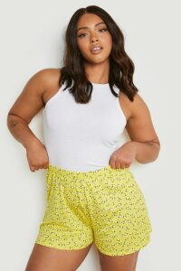 Womens Plus Ditsy Floral Flippy Shorts - yellow - 28, Yellow