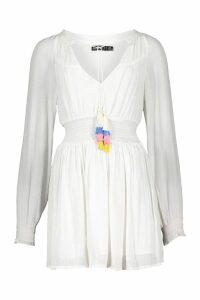 Womens Petite Tassel Trim Shirred Waist Skater Dress - white - 10, White