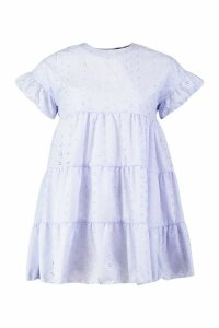 Womens Petite Broderie Anglaise Smock Dress - purple - 4, Purple