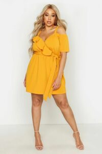 Womens Plus Plunge Ruffle Belted Mini Dress - yellow - 20, Yellow