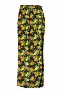 Womens Plus Lemon print Maxi Skirt - black - 24, Black