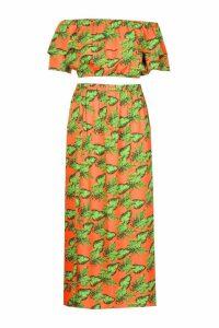 Womens Plus Bright Tropical Print Bardot And Maxi Skirt Co-ord - orange - 18, Orange