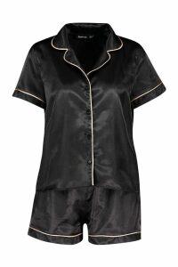 Womens Satin PJ Short Set with Contrast Piping - black - 10, Black