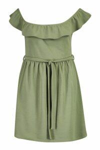Womens Plus Off The Shoulder Ruffle Midi Dress - green - 16, Green