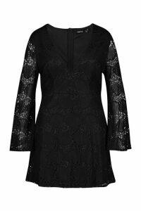 Womens Plus Lace Plunge Skater Dress - black - 20, Black