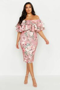 Womens Plus Off Shoulder Floral Ruffle Midi Dress - pink - 16, Pink