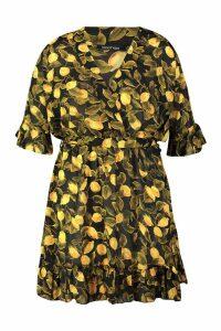 Womens Plus Lemon Printed Wrap Ruffle Skater Dress - black - 18, Black