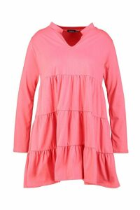 Womens Plus Cotton Ruffle Smock Dress - orange - 18, Orange