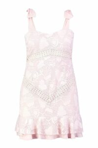 Womens Plus Lace Embroidered Tie Shoulder Ruffle Dress - pink - 18, Pink