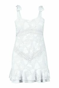 Womens Plus Lace Embroidered Tie Shoulder Ruffle Dress - white - 18, White