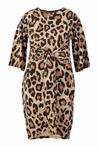Womens Plus Leopard Kimono Wrap Over Midi Dress - brown - 24, Brown