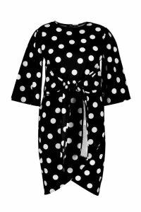 Womens Plus Polka Dot Kimono Sleeve Tie Waist Wrap Dress - black - 22, Black