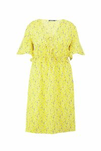 Womens Plus Floral Ruffle Midi Dress - yellow - 20, Yellow
