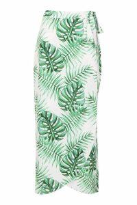 Womens Petite Palm Print Woven Maxi Skirt - white - 8, White