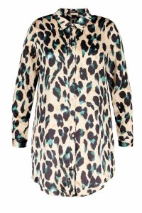 Womens Plus Leopard Satin Shirt Dress - brown - 20, Brown