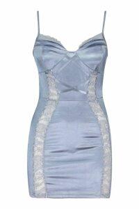 Womens Petite Lace Detail Satin Bodycon Dress - blue - 14, Blue