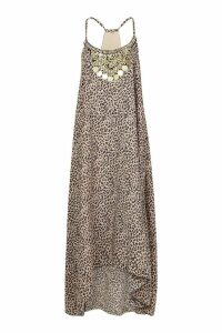 Womens Petite Leopard Print Beaded Hanky Hem Dress - brown - 6, Brown