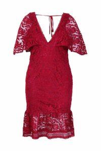 Womens Plus Lace Cape Sleeve Frill Hem Midi Dress - red - 16, Red