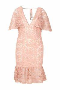 Womens Plus Lace Cape Sleeve Frill Hem Midi Dress - pink - 20, Pink