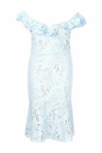 Womens Plus Premium Lace Off Shoulder Midi Dress - blue - 24, Blue
