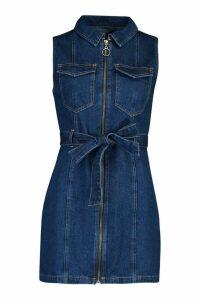 Womens Petite Denim Zip Tie Dress - blue - 10, Blue