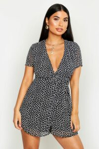 Womens Petite Woven Spot Wrap Dress - black - 4, Black