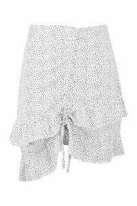 Womens Plus Woven Polka Dot Ruched Mini Skirt - white - 20, White