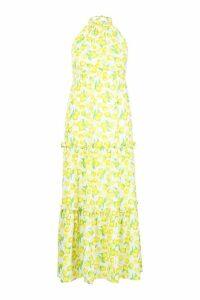 Womens Plus Lemon Printed Halter Neck Maxi Dress - yellow - 18, Yellow