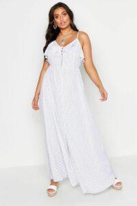 Womens Plus Ruffle Button Front Maxi Dress - white - 16, White