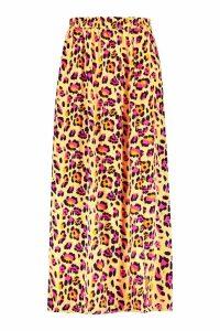 Womens Plus Leopard Print Woven Beach Maxi Skirt - yellow - 20, Yellow