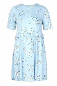 Womens Petite Ruffle Waist Floral Smock Dress - blue - 4, Blue
