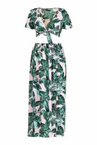 Womens Petite Palm Print Tie Front Top & Maxi Skirt Co-Ord - Pink - 10, Pink