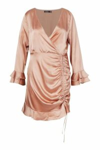 Womens Plus Satin Ruched Flare Sleeve Frill Dress - pink - 24, Pink
