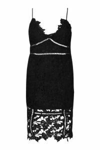 Womens Plus Premium Crochet Lace Stappy Midi Dress - black - 20, Black