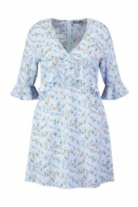 Womens Plus Ditsy Floral Ruffle Skater Dress - blue - 20, Blue