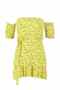 Womens Petite Off The Shoulder Ditsy Print Sun Dress - yellow - 4, Yellow