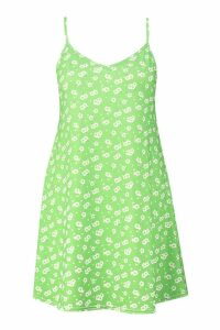 Womens Plus Ditsy Floral Basic Swing Dress - green - 18, Green