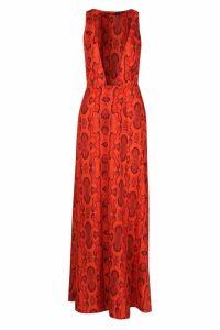 Womens Petite Snake Print Tie Wrap Maxi Dress - orange - 12, Orange