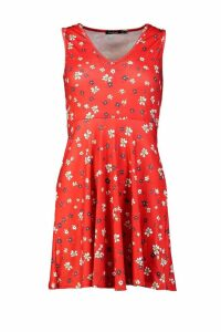Womens Petite Ditsy Floral Strappy Skater Sun Dress - red - 8, Red