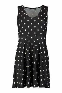 Womens Petite Polka Dot Strappy Sun Dress - black - 10, Black