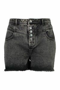 Womens Plus Button Up Acid Wash Denim Short - black - 20, Black